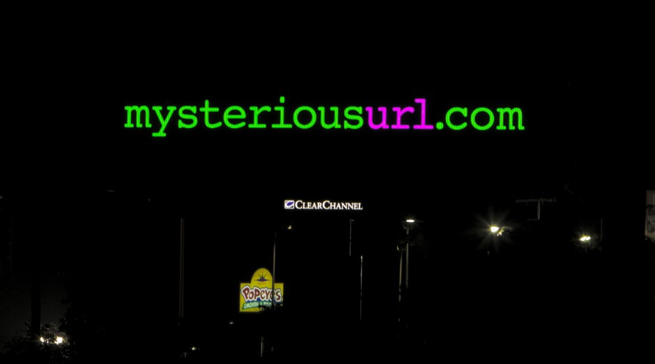 A mysterious board for a mysterious url, mysteriousurl.com